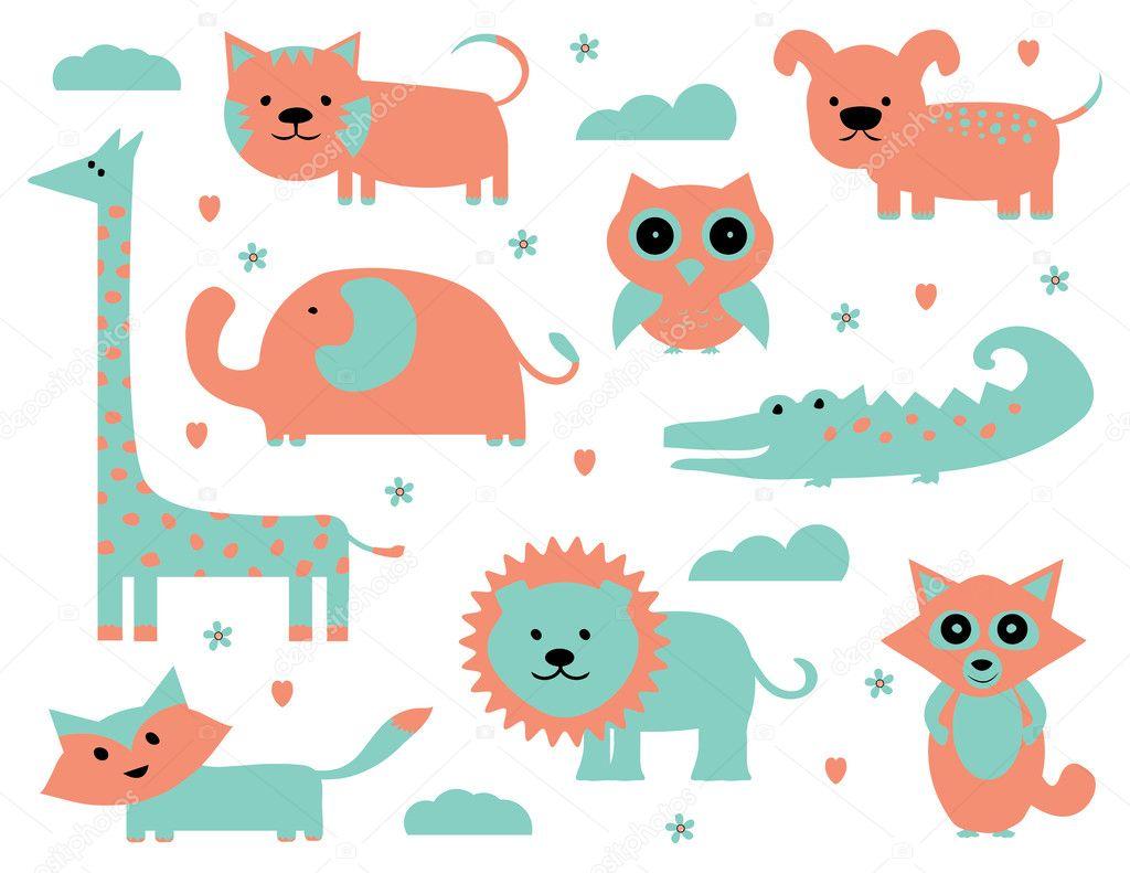 かわいい動物クリップアート コレクション ストックベクター Pixejoo