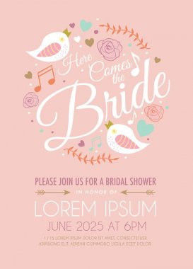Bridal Shower Invitation Card with Bird on Pink Background
