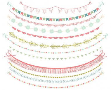 Garlands Set in Vector on White Background