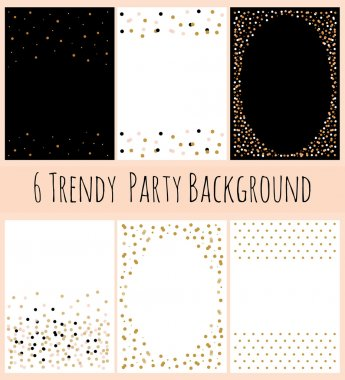 6 Party Background with Confetti in white and black