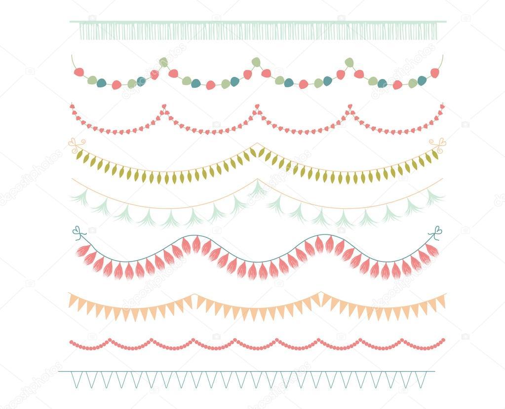 Girlanden Und Bunting Fahnen Clipart Auf Weißem Hintergrund