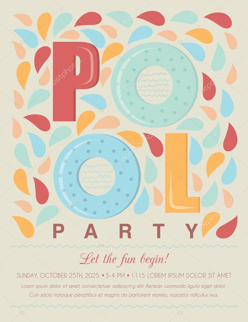 pool or beach party invitation template card stock vector