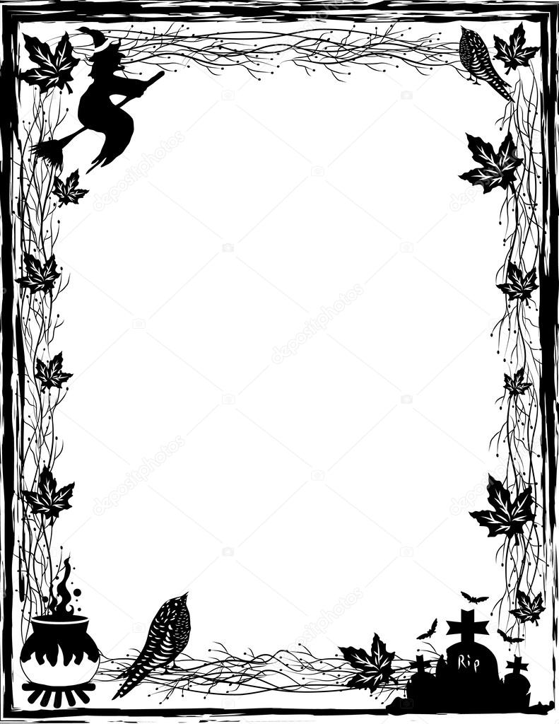 black and white halloween background in vector stock vector 43110837 - Halloween Black And White