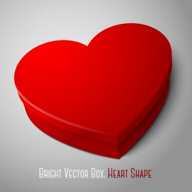 Vector realistic blank bright red heart shape box isolated on gray background. For your valentines day or love presents design.