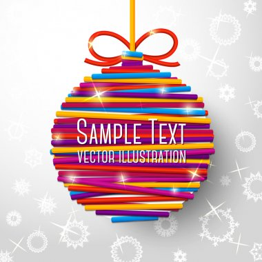 New Year and Christmas card with bright bauble made from laces on paper background with snowflakes . With place for your text. Vector