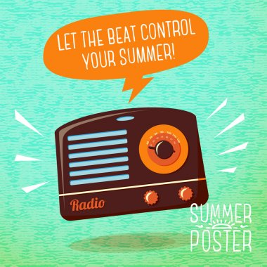 Cute summer poster - radio playing cool music, with speech bubble for your text. Vector. stock vector