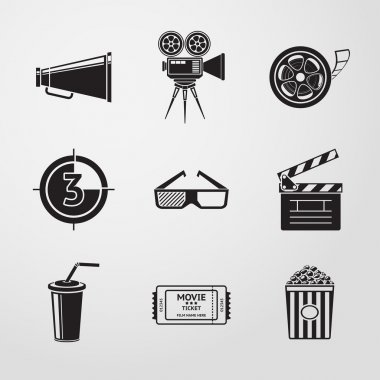 Cinema (movie) icons set