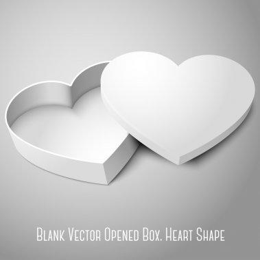 Blank white opened heart shape box