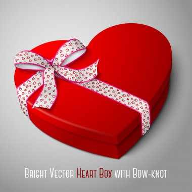 Bright red heart shape box