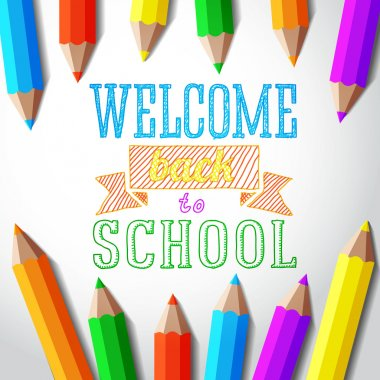 Welcome back to school hand-drawn greeting with color pencils. Vector