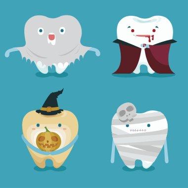 Halloween concept of teeth set