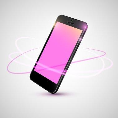 Black smart phone on angle