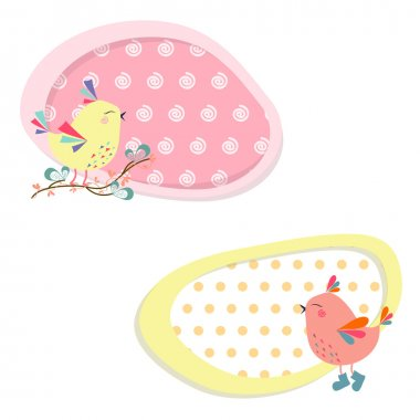 Bright stickers with birds in vector
