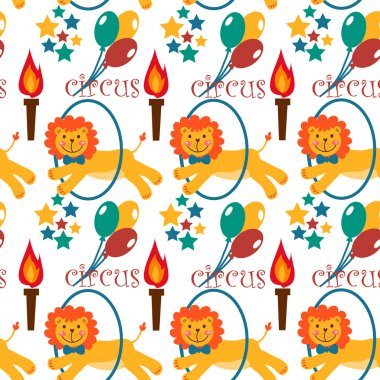 Pattern with cute circus animals.