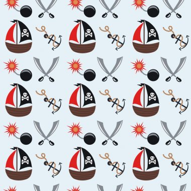 Seamless pattern cartoon pirates. vector illustration