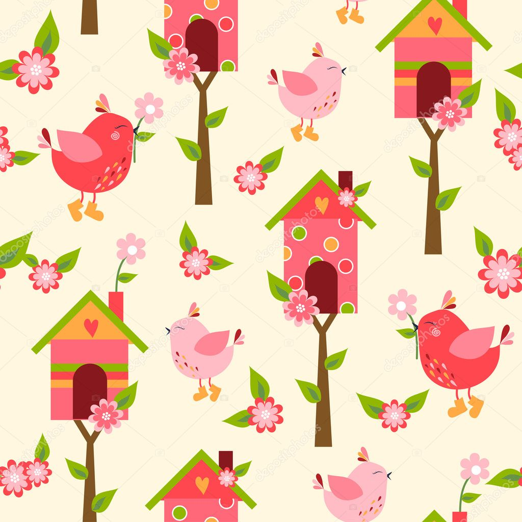 Seamless pattern with cute owls and colorful houses for birds. vector illustration