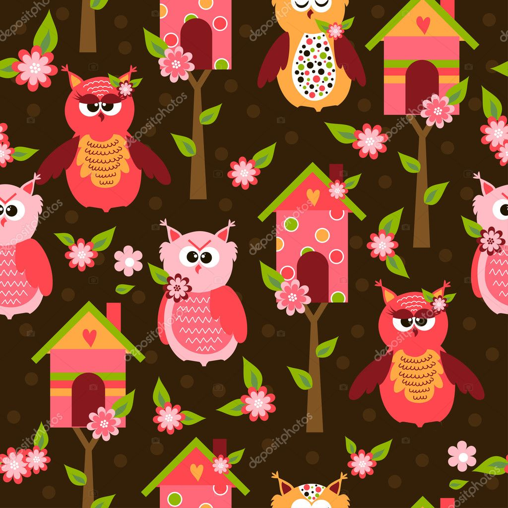 Seamless pattern with cute birds and colorful houses for birds. vector illustration