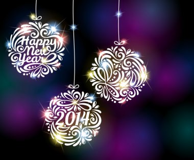 Happy New Year 2014 sparkling colorful ornament design