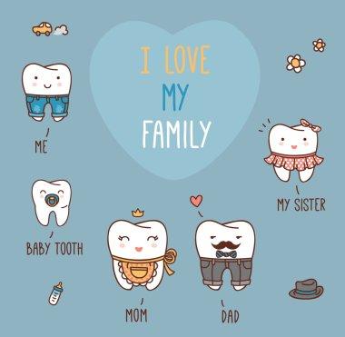 Happy family teeth set
