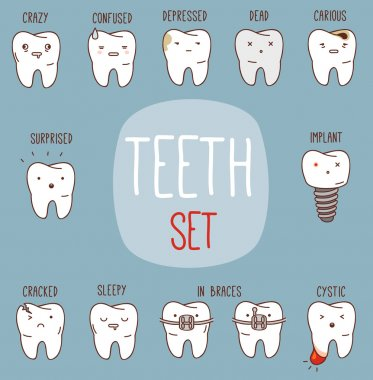Teeth treatment set. Dental collection for your design with different teeth character