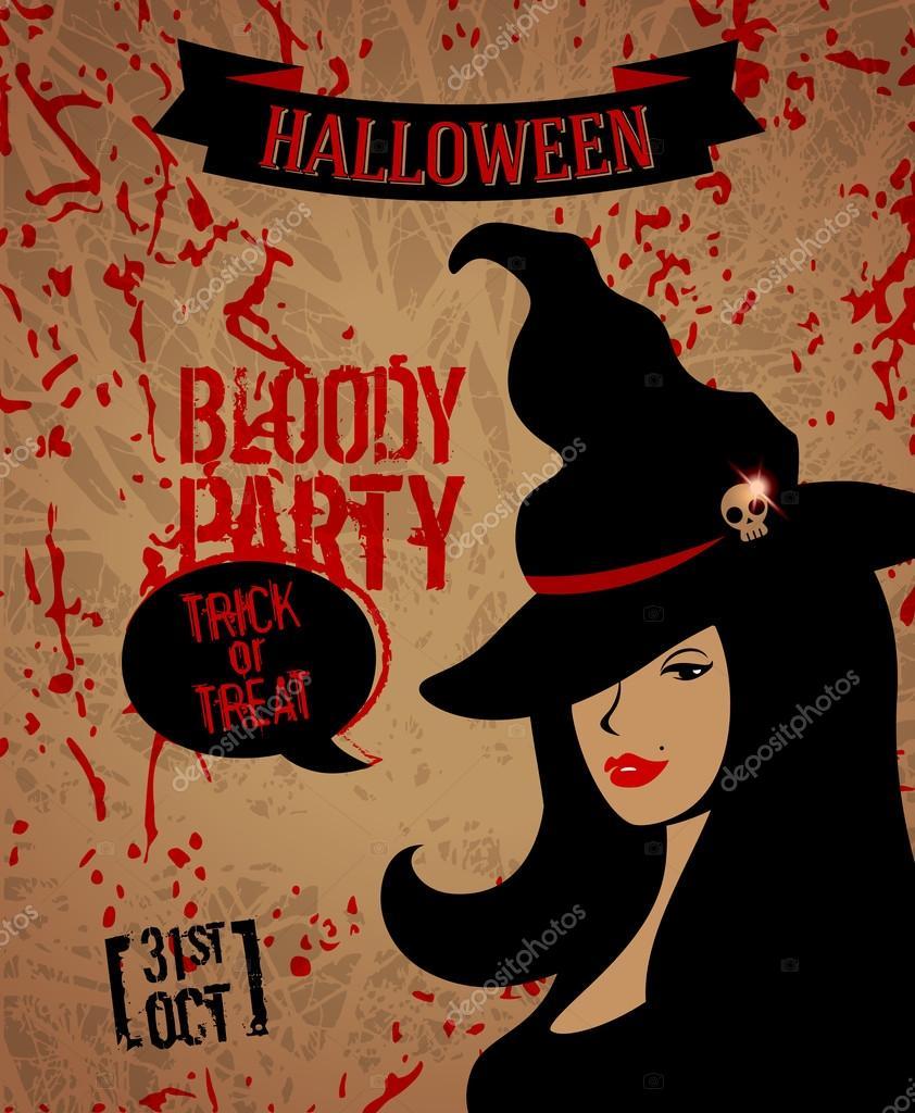 Halloween party affisch. vektor illustration. Bus eller godis. mall för  flyer design. häxa i hatt. Glad halloween. kvinna ansikte med röda läppar  och svart ... 8d14338795f8b