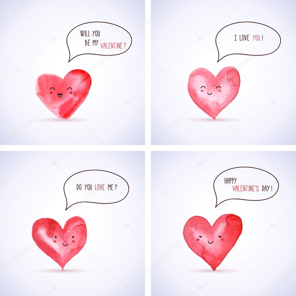 set of watercolor hearts for valentine u0027s day design u2014 stock