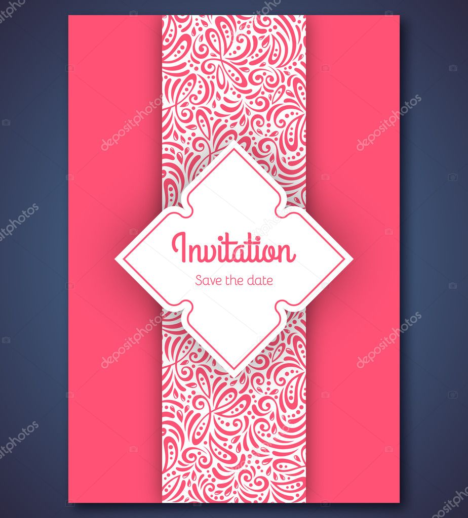 Wedding invitation card template with abstract pattern backgroun ...
