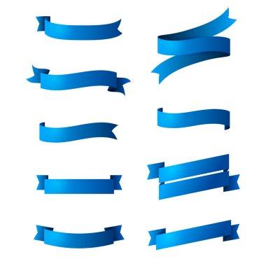 Set of blue ribbons isolated on white background.