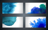 Vector abstract hand drawn set blue watercolor backgrounds.