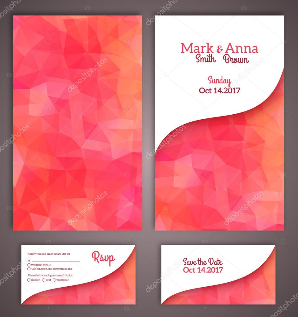 Wedding invitation cards template with abstract polygonal backgr ...