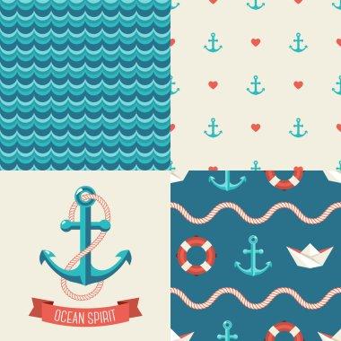 Navy vector seamless patterns se