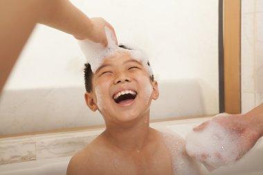 Young Boy in Bubble Bath