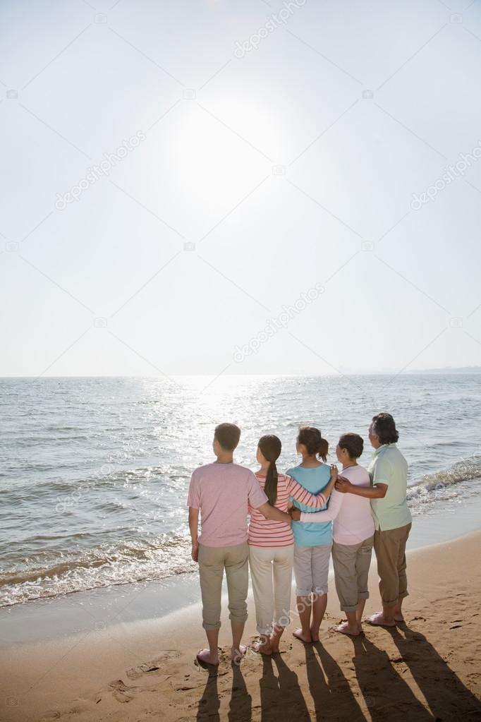 Family by the beach