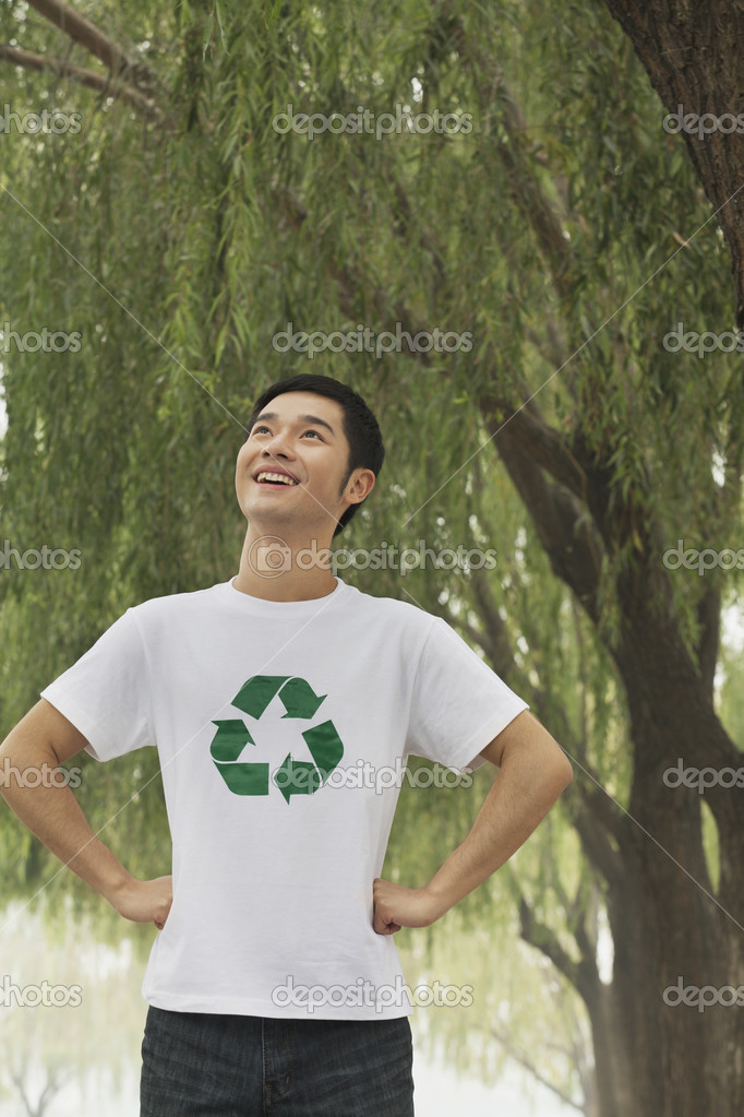 Man Smiling, Recycling Symbol