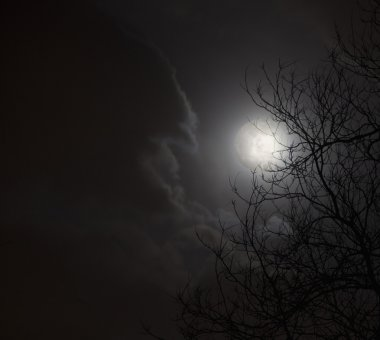 Full moon in night sky with clouds