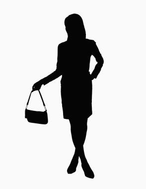 Silhouette of businesswoman holding handbag stock vector