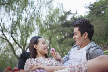 Couple in love having a picnic in the park