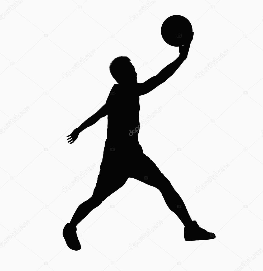 silueta de basquetbolista silueta del jugador de baloncesto foto