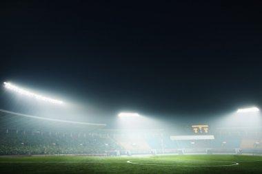 Soccer field and night sky