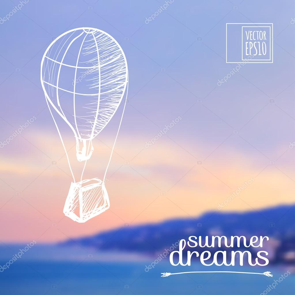 Sketch on summer dreams on the background images Balloon over the sea