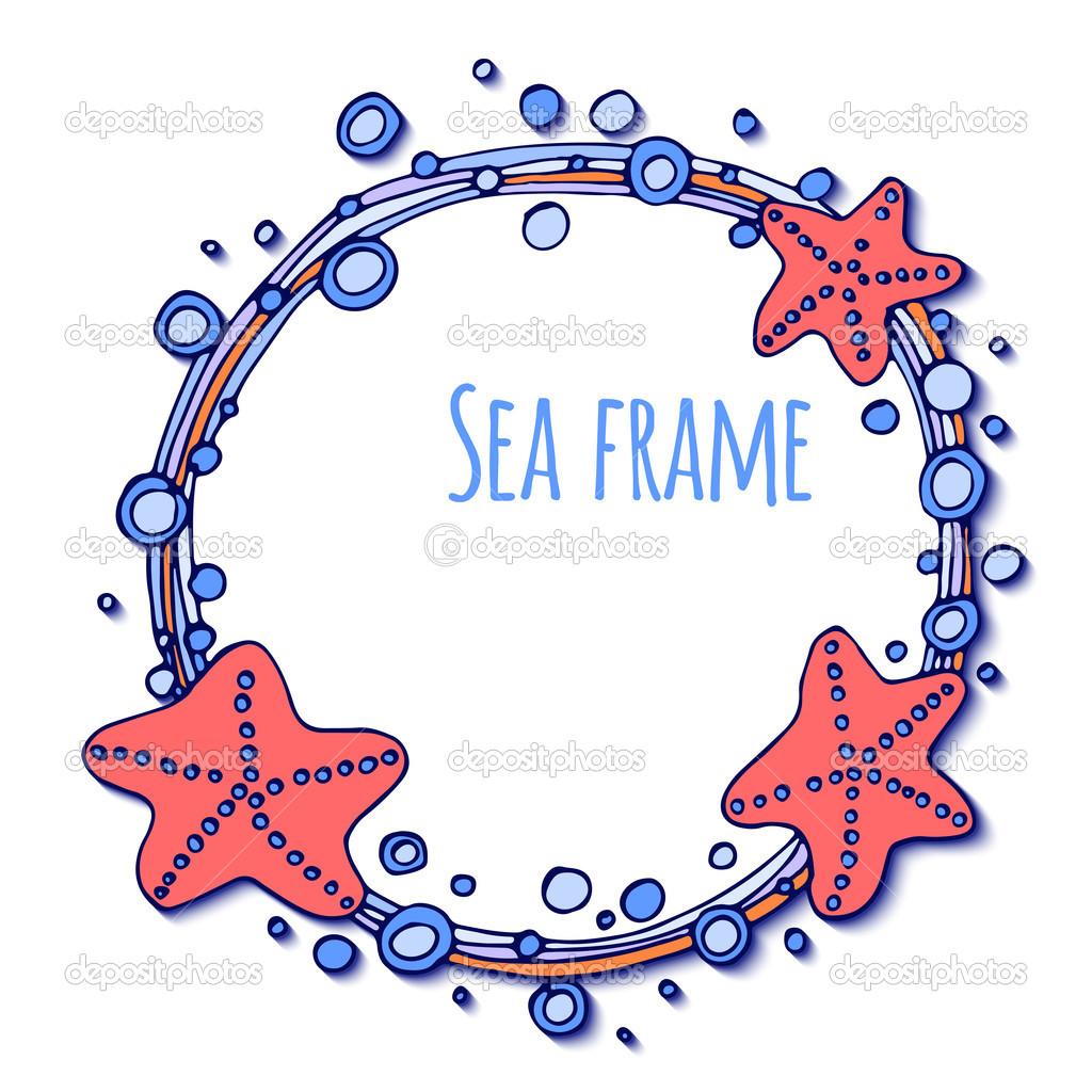 marco redondo con estrellas de mar y burbujas — Archivo Imágenes ...