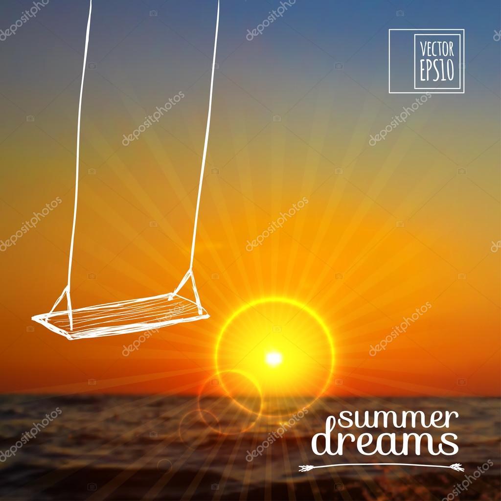 Skizzieren Sie Im Sommerurlaub Auf Die Hintergrundbilder Auf Einem