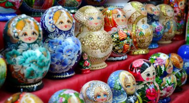 A collection of colorful wooden matryoshkas