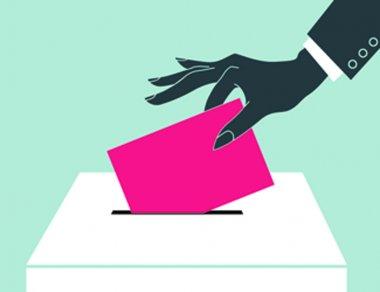 Hand down the ballot in the ballot box.