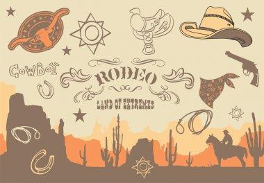 Cowboy. Wild West Western Elements, vector illustration