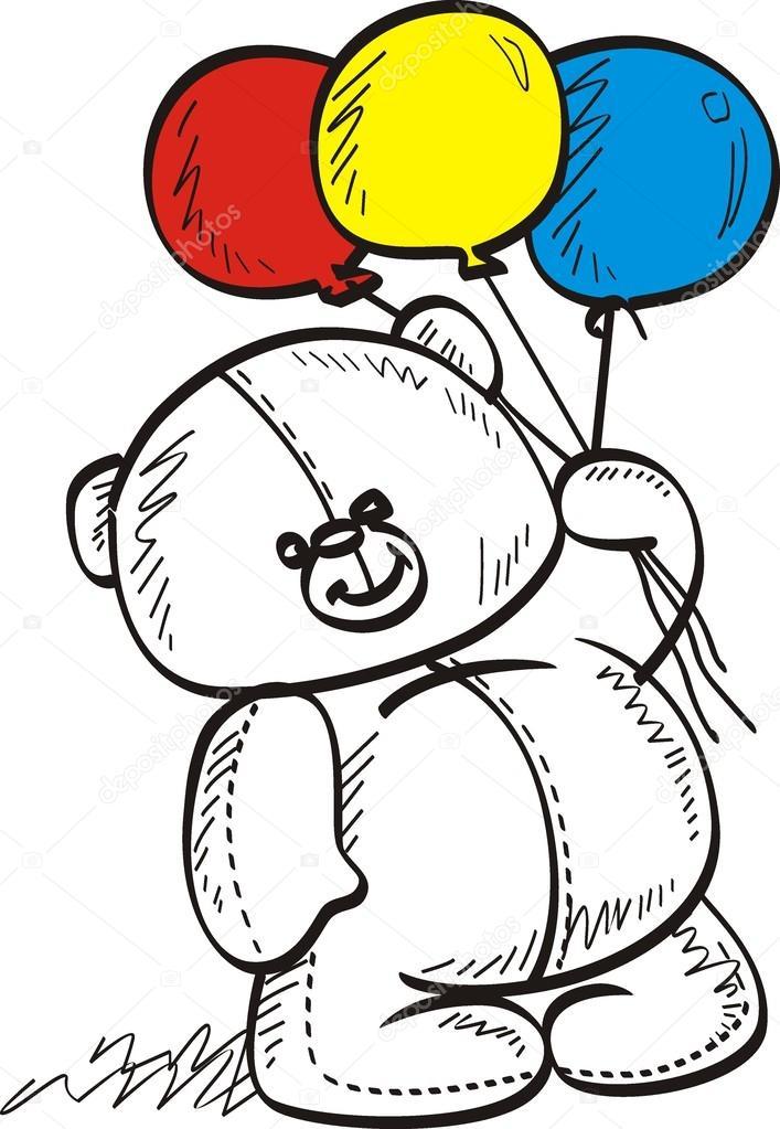Bir Balon Elinde Oyuncak Ayı Stok Vektör Halimqd 36903817