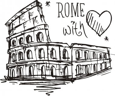 Sketch Colosseum in Rome, Italy