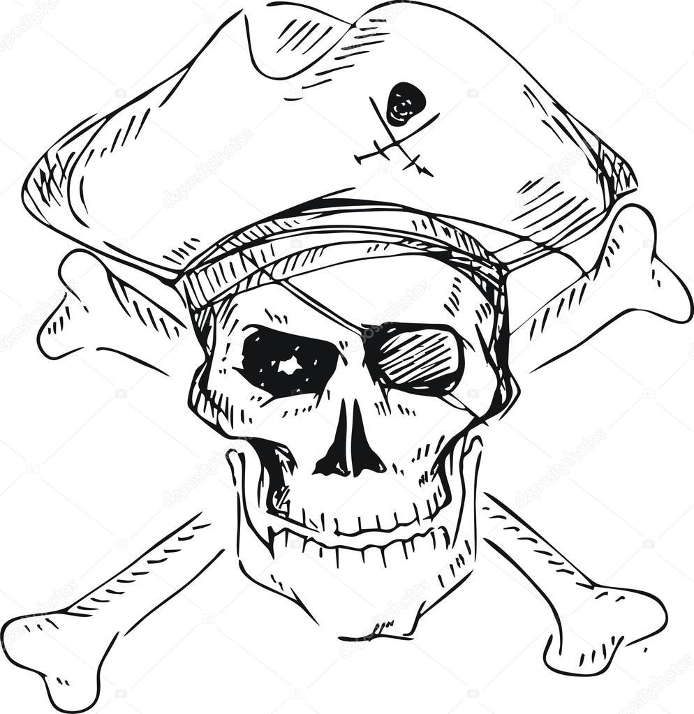 calavera pirata con sombrero y cross bones, estilo doodle — Archivo ...