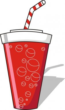 Soda with striped straw