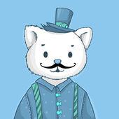 kreslený bederní doodle kočka s knírkem a klobouk